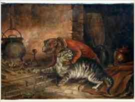 Aap die een kat dwingt kastanjes uit het vuur te halen (19e-eeuws).