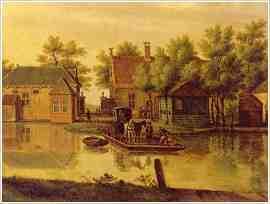 Veer over de Oude Rijn, bij wat nu heet: de Haagse Schouw. Die bevindt zich nu in Leiden, maar in de 18e eeuw lag de oversteekplaats in Wassenaar.   Schilderij P.C. la Fargue.