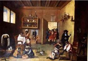 David Teniers, Apen bij de barbier.